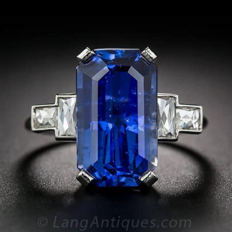 carat emerald cut sapphire diamond platinum ring