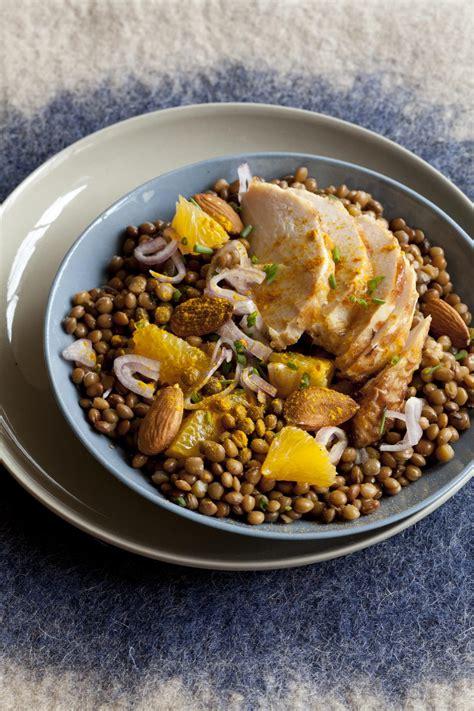 cuisine lentilles recette salade de lentilles et poulet au curcuma cuisine