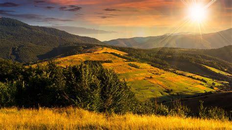 Download Wallpaper 2560x1440 Valley Mountains Sunshine