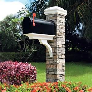 Stacked Stone Mailbox Post