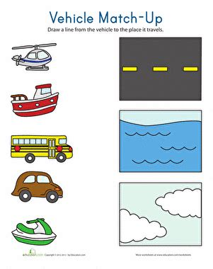 Transportation Match Up  Worksheet Educationcom