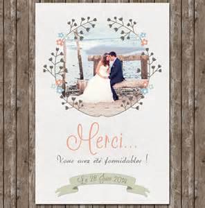 cartes de remerciements mariage création remerciements mariage tendresse avec photo