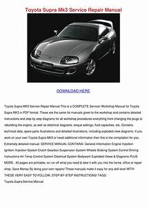 Toyota Supra Mk3 Service Repair Manual By Loydloveless