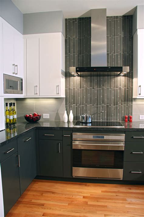 contemporary kitchen vertical tiles are a accent