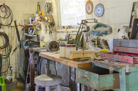 messy workshop   types  tools stock image