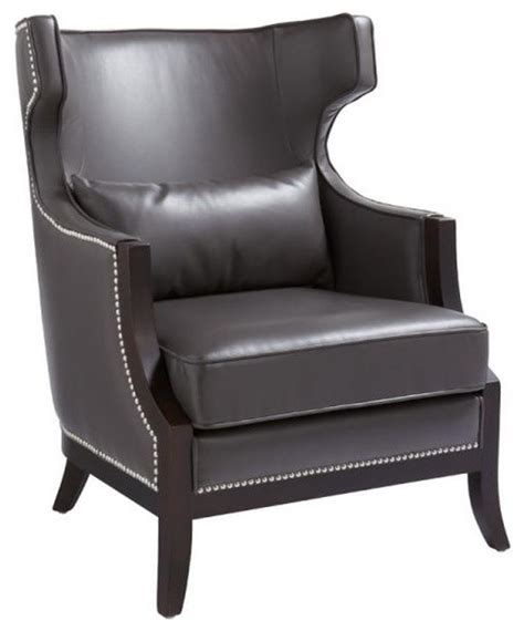 wing back leather arm chair grey transitional