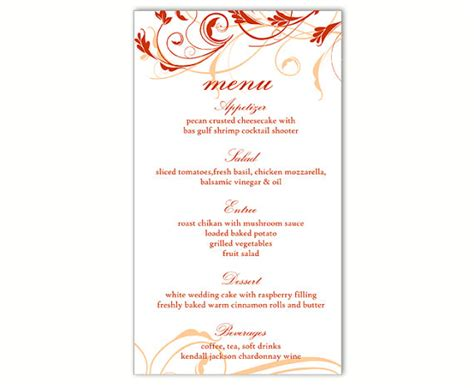 menu card template wedding menu template diy menu card template editable text word file instant menu