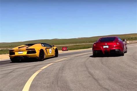 Lambo Vs by A F12 And Lamborghini Aventador Roadster Hit