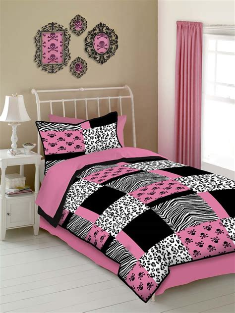 Cheetah Print Room Decor by Pink Skulls 4 Pc Full Comforter Set Pink