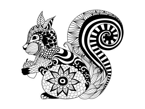 Squirrels & Rodents Adult Coloring Pages