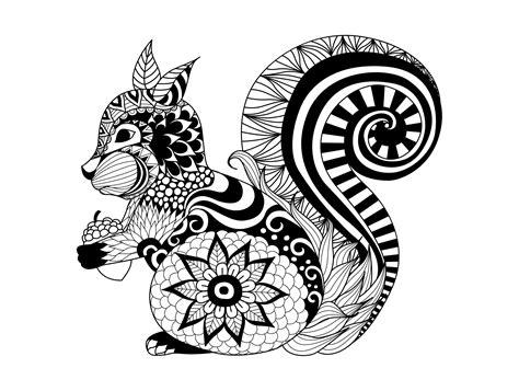 zentangle squirrel  bimdeedee animals coloring pages