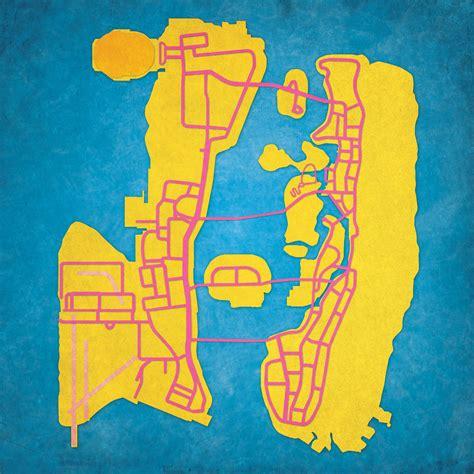 grand theft auto vice city map art city prints