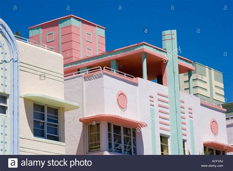 detail of pastel colored hotels in deco architecture style on stock photo royalty free