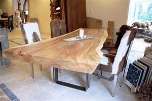 Esstisch Aus Einem Massiven Baumstamm Tischgestell