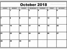 October Calendar 2018 Template – Printable Calendar