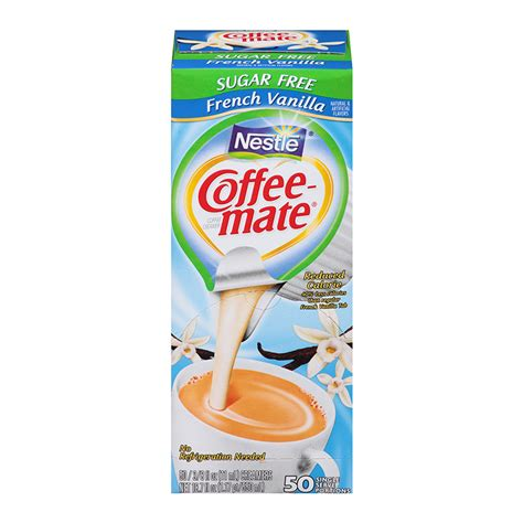Dispenser box of liquid creamer singles keeps the counter clean and organized. Nestle Coffee-Mate Sugar Free French Vanilla (SINGLE SERVE) - A Taste of the States