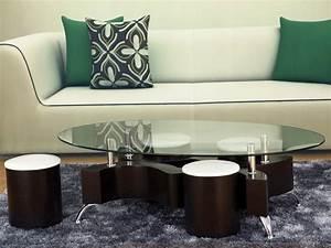 Table Basse 4 Poufs : table basse ovale en verre alina 4 poufs 58455 ~ Teatrodelosmanantiales.com Idées de Décoration