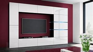 Moderne Wohnwände Weiss Hochglanz : kaufexpert wohnwand shadow wei hochglanz schwarz 285 cm mediawand anbauwand medienwand design ~ Sanjose-hotels-ca.com Haus und Dekorationen