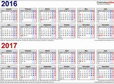 Two year calendars for 2016 & 2017 UK for Word