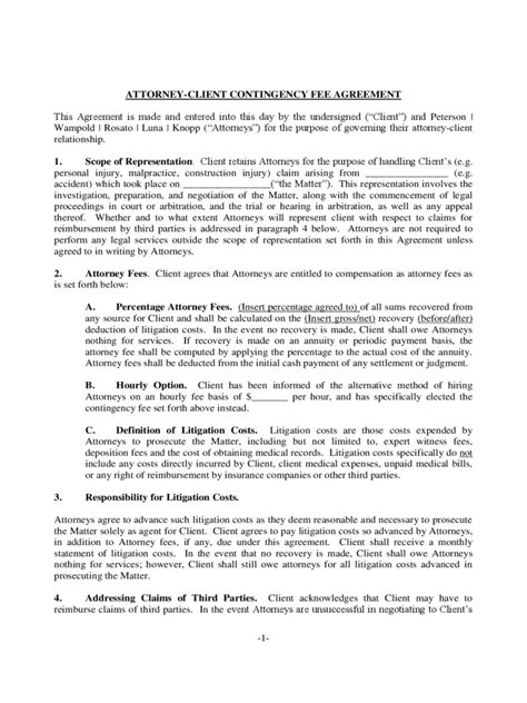 Contingency Fee Agreement Form - 7 Free Templates in PDF