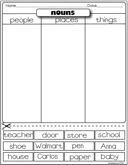 The Lesson Plan Diva Freebies Types Of Nouns Sorting Activity Person, Place, Or Thing