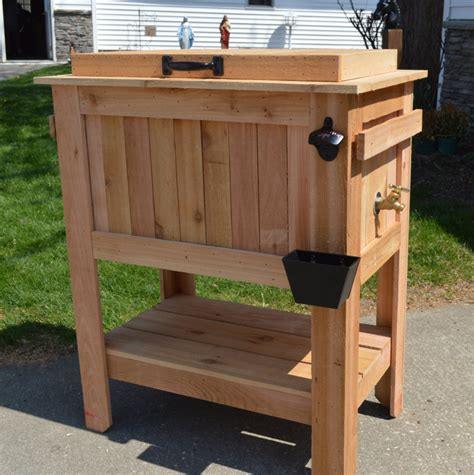best seller rustic chest cooler stand with brass drain