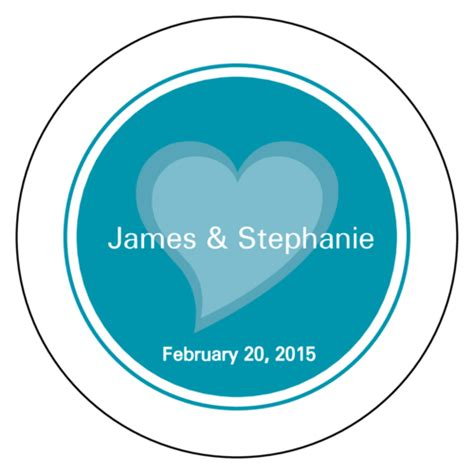 turquoise heart wedding envelope seal label label