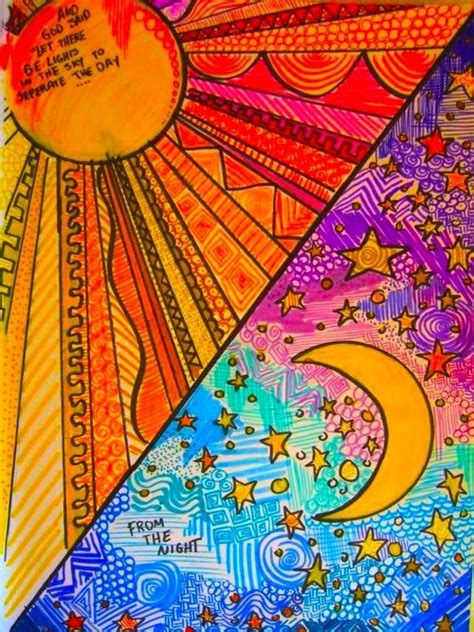 Sun and moon. Day and night. | Moon art, Art lessons, Art ...