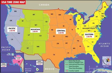 time zones map north america travel information