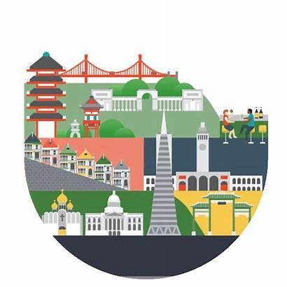 Cities America Gifs Map Zhang Jing Illustration