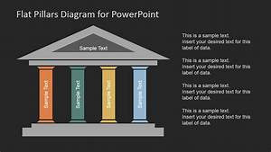 Flat Pillars Diagram For Powerpoint