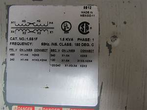Square D 1 5s1f Single Phase Transformer 1 5 Kva 120  240