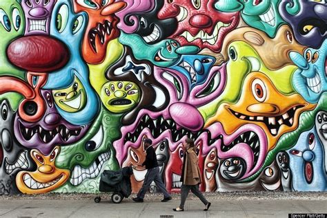 kenny scharf s houston street mural is up photos huffpost