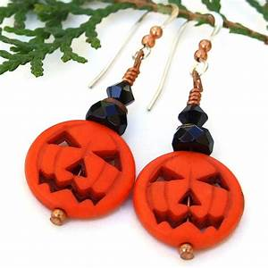 Halloween, Earrings, Jack, O, Lanterns, Pumpkins, Orange, Black, Jewelry, Gift