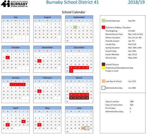 approved year calendar burnaby