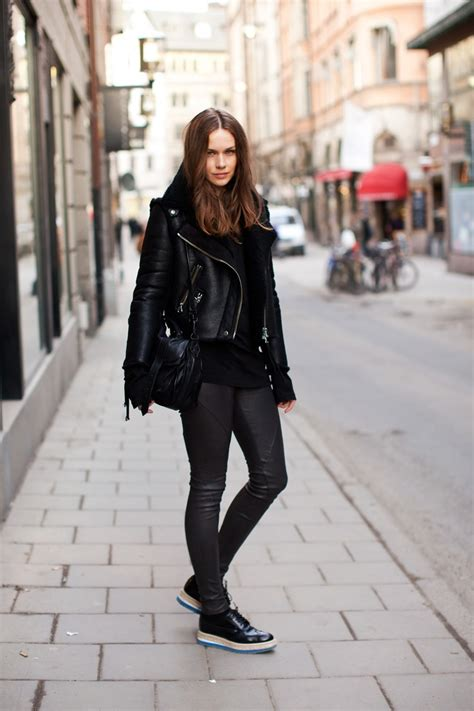 leather pants outfit ideas   styloss.com