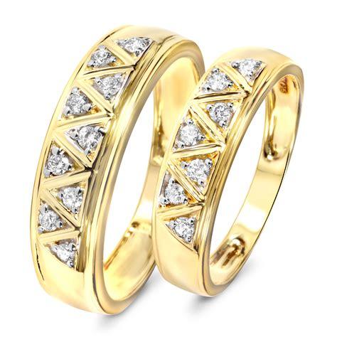 1 3 carat t w diamond his and hers wedding band set 10k