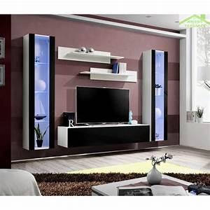 Meuble Tv Mural : ensemble meuble tv mural fly a avec led ~ Teatrodelosmanantiales.com Idées de Décoration