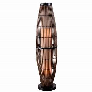 Kenroy home biscayne 51 in rattan outdoor floor lamp for Outdoor rattan floor lamp
