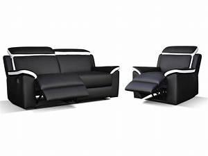 Fauteuil Et Canapé : canap t fauteuil relax gris blanc ou noir blanc souffle ~ Teatrodelosmanantiales.com Idées de Décoration