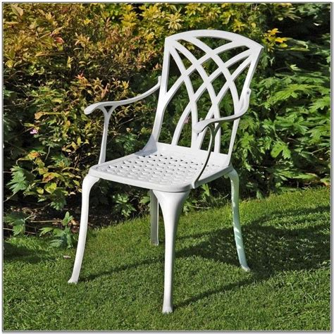 white metal garden chairs