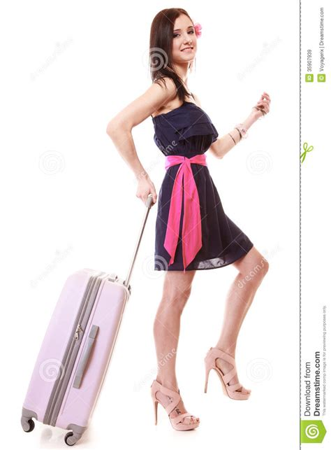 Girl Female Tourist In Dress Walking With Suitcase Travel