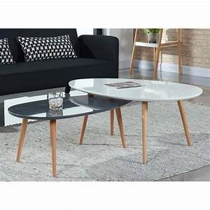 Table Salon Gigogne : table basse stone table basse scandinave 98x61 cm laqu e blanc table basse pinterest table ~ Dallasstarsshop.com Idées de Décoration