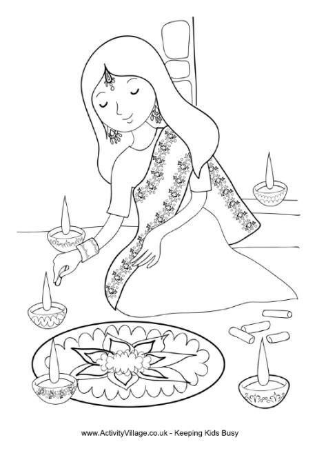 Girl Painting Rangoli Colouring Page
