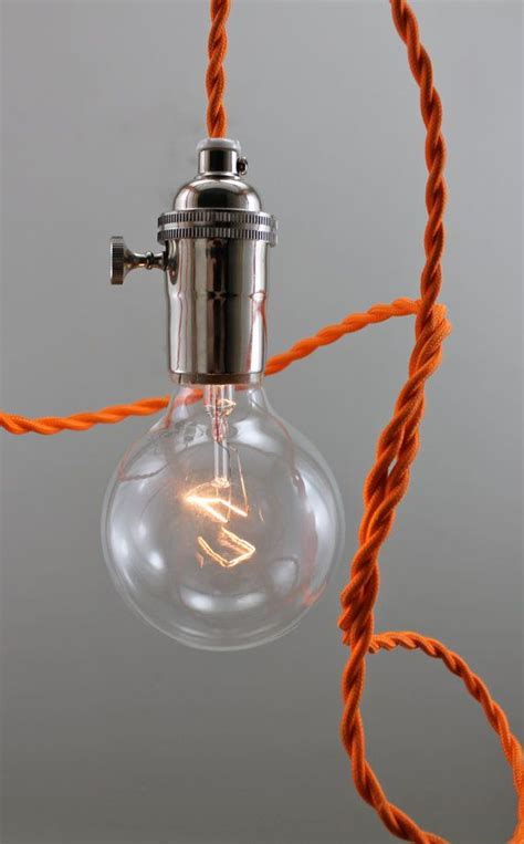 mod orange bare bulb pendant lighting hanging light