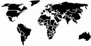 Black White Outline World Map No Background Clip Art at ...