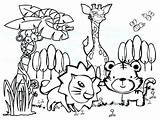 Rainforest Coloring Animals Pages Tropical Printable Getcolorings sketch template