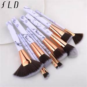 Fld 10 Pieces Black And White Professional Makeup Brushes