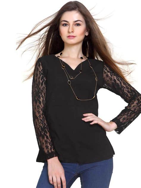 Sheer Top black top with sheer lace habbana
