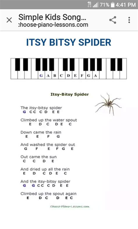 From the free sheet music index. Itsy Bitsy Spider, Nursery Rhymes, Piano, Sheet Music | Beginner piano music, Easy piano songs ...